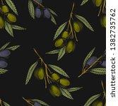 olive branch seamless pattern.... | Shutterstock .eps vector #1382735762