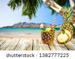 fresh pineapple fruits and... | Shutterstock . vector #1382777225