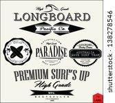 vector retro surf label set. | Shutterstock .eps vector #138278546