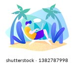 man with a laptop is resting on ... | Shutterstock .eps vector #1382787998