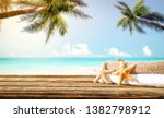 wooden old desk of free space... | Shutterstock . vector #1382798912