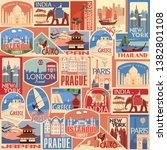 set of retro travel stickers.... | Shutterstock .eps vector #1382801108
