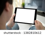 man hands holding computer... | Shutterstock . vector #1382810612