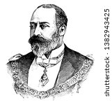 Edward VII, 1841-1910, he was the king of the United Kingdom and the British dominions and Emperor of India from 1901 to 1910, vintage line drawing or engraving illustration