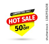 hot sale banner  50  off.... | Shutterstock .eps vector #1382953658