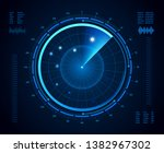 Futuristic radar. Military navigate sonar, army target monitoring screen and radar vision interface map or navy submarine satellite display interface. Aircraft compass  isolated concept