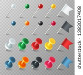 pins flags tacks. colored... | Shutterstock .eps vector #1383017408