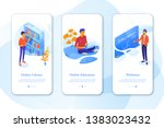 education mobil app set with... | Shutterstock .eps vector #1383023432