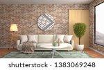 interior of the living room. 3d ... | Shutterstock . vector #1383069248