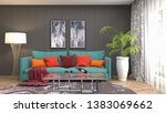 interior of the living room. 3d ... | Shutterstock . vector #1383069662
