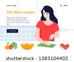 the girl prepares healthy food... | Shutterstock .eps vector #1383104402