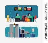 vector illustrations on airport ... | Shutterstock .eps vector #1383141548