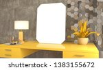 blank picture on the table. 3d... | Shutterstock . vector #1383155672