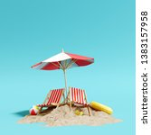 beach umbrella with chairs and... | Shutterstock . vector #1383157958
