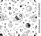 seamless doodle space pattern.... | Shutterstock .eps vector #1383164042