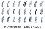 floral set of hand drawn... | Shutterstock .eps vector #1383171278