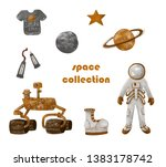 space collection. spacesuit and ... | Shutterstock . vector #1383178742