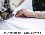 view of a hand working on... | Shutterstock . vector #1383189455