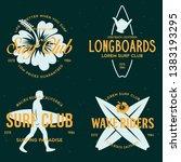 vintage surfing emblems for web ...   Shutterstock .eps vector #1383193295