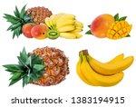 pineapple  banana  kiwi and... | Shutterstock . vector #1383194915
