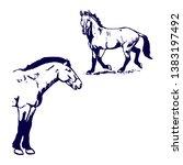 przewalski horse pattern blue... | Shutterstock . vector #1383197492