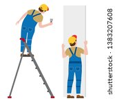 workers put plaster on a...   Shutterstock .eps vector #1383207608