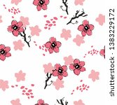 seamless background with cherry ... | Shutterstock .eps vector #1383229172