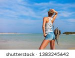 tourist woman at the red sea...   Shutterstock . vector #1383245642