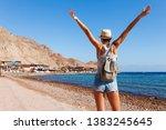 tourist woman in dahab near...   Shutterstock . vector #1383245645