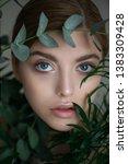 portrait of beauty model with... | Shutterstock . vector #1383309428