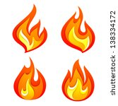 fire flames set  isolated on... | Shutterstock .eps vector #138334172