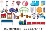 set of playground tools... | Shutterstock .eps vector #1383376445