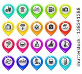 map marker with icons set two....   Shutterstock .eps vector #138341288