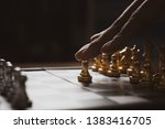 man playing chess game strategy ... | Shutterstock . vector #1383416705