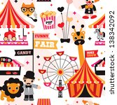 seamless kids circus fun fair... | Shutterstock .eps vector #138342092
