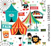 seamless kids circus fun fair... | Shutterstock .eps vector #138342095