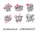 happy mother day set lettering. ... | Shutterstock .eps vector #1383446915