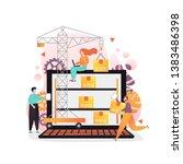 warehouse management software... | Shutterstock .eps vector #1383486398