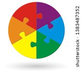 round puzzle with six options... | Shutterstock .eps vector #1383487352
