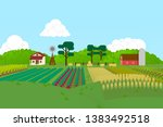 3d farm with areas of... | Shutterstock . vector #1383492518