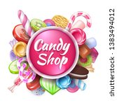 candies background. realistic... | Shutterstock .eps vector #1383494012