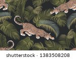 the stalking wild jaguar and... | Shutterstock .eps vector #1383508208
