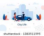 man opening door of car for... | Shutterstock .eps vector #1383511595