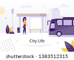 city life with girl standing in ... | Shutterstock .eps vector #1383512315