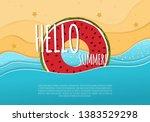 cool summer sea and beach.... | Shutterstock .eps vector #1383529298