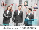 portrait of businesspeople face ... | Shutterstock . vector #1383536855