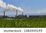 fuming pipe power plant against ... | Shutterstock . vector #1383545195