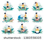 happy man doing different... | Shutterstock .eps vector #1383558335