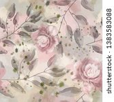 seamless pattern with flowers... | Shutterstock . vector #1383583088
