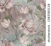 Stock photo seamless pattern with flowers and leaves floral background for wallpaper paper and fabric old 1383583118